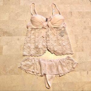 Apt 9 Soft Pink Lace Babydoll Lingerie Set